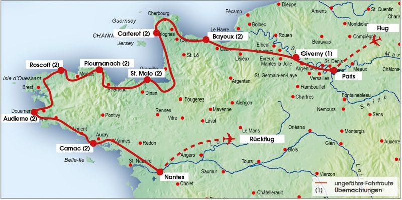 routenkarte-normandie-bretagne-16tage
